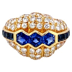 Blue Sapphire and Diamond Yellow Gold Engagement Ring
