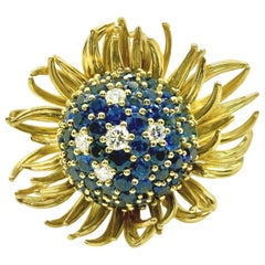 Blue Sapphire and Diamond Yellow Gold Flower Cocktail Ring