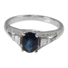 Blue Sapphire and Diamonds 14kt White Gold Ladies Ring