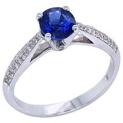 Blue Sapphire and Diamonds White Gold 18 Karat Ring