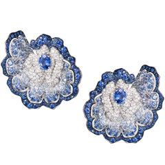 Blue Sapphire and Diamonds White Gold Flower Earrings