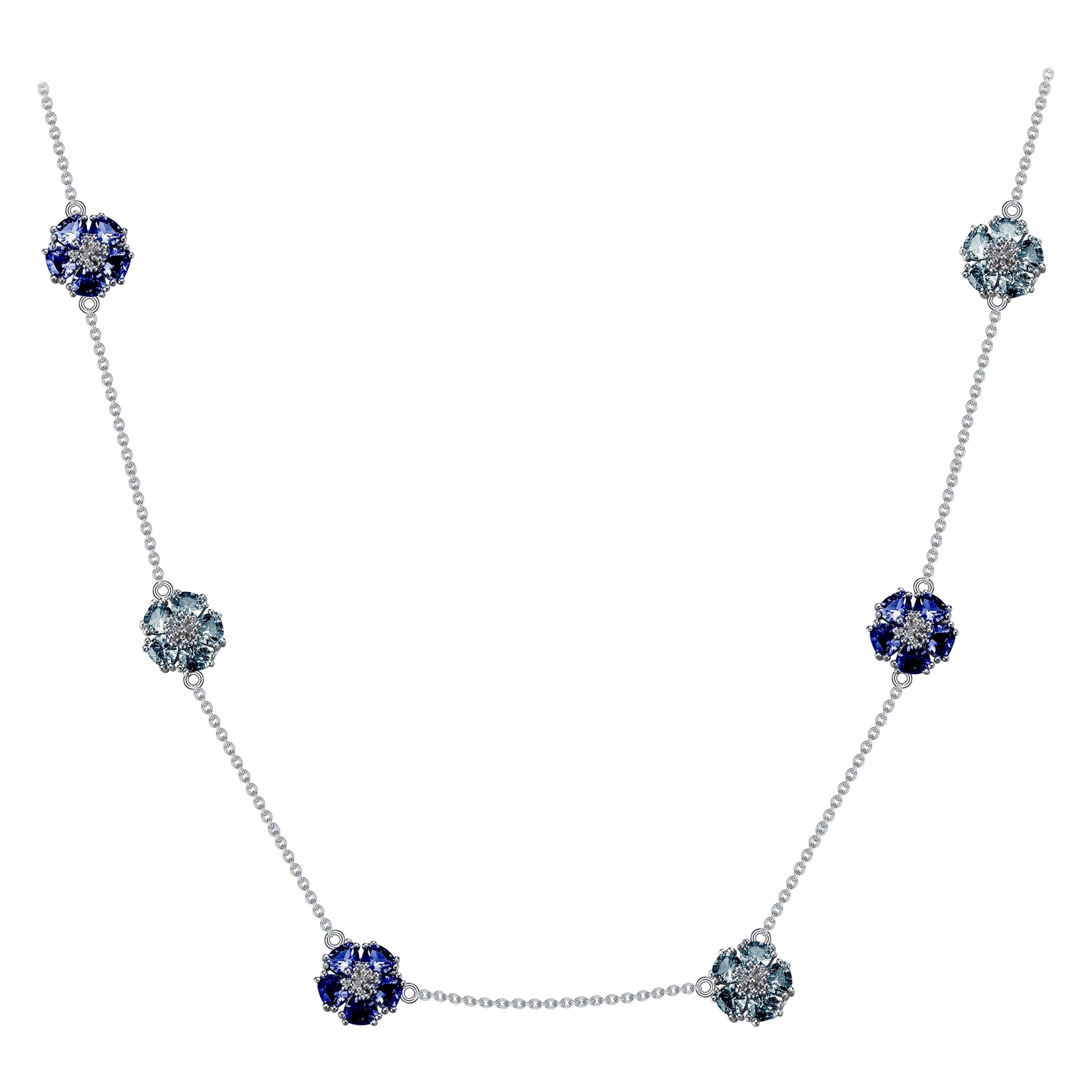 London and Sky Blue Topaz Blossom Gentile Chain Necklace