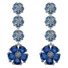 Blue Sapphire and Light Blue Sapphire Blossom Renaissance Drop Earrings