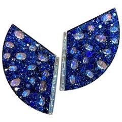 Blue Sapphire and Moonstone Diamond Earrings