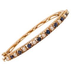 Blue Sapphire and Pearl Estate Clamp Bracelet 'Bangle/Cuff' in 14 Karat Gold