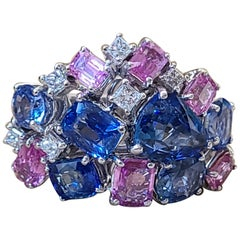 Blue Sapphire and Pink Sapphire Cut Set in 18 Karat Gold with Diamonds