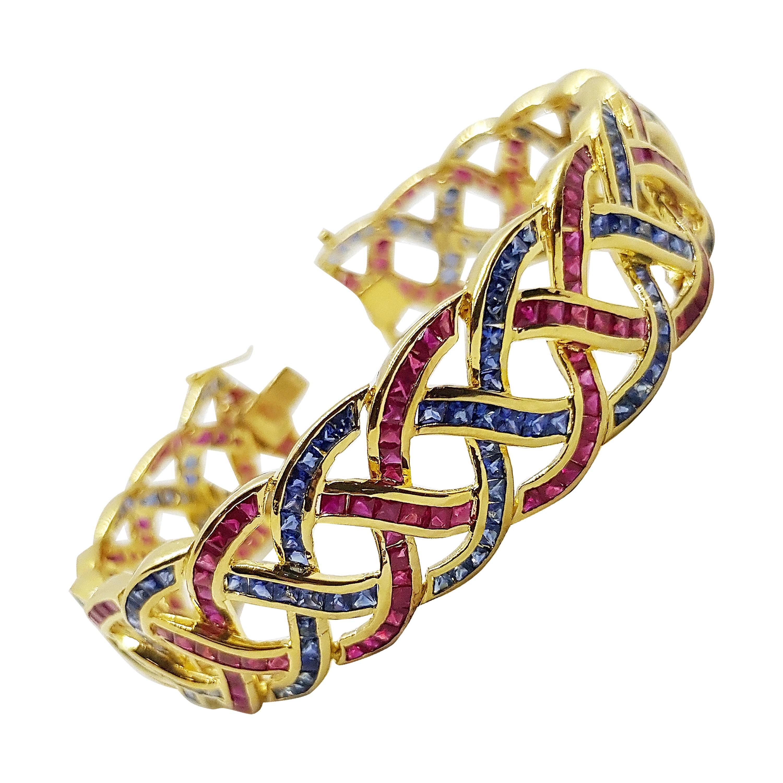 Blue Sapphire and Ruby Bracelet Set in 18 Karat Gold Settings