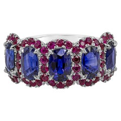 Roman Malakov, Blue Sapphire and Ruby Halo Five-Stone Wedding Band