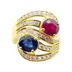 Blue Sapphire and Ruby with Diamond Ring Set in 18 Karat Gold Settings