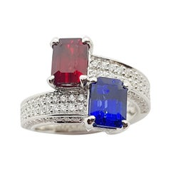 Certified Blue Sapphire and Ruby with Diamond Ring Set in Platinum 950 Settings