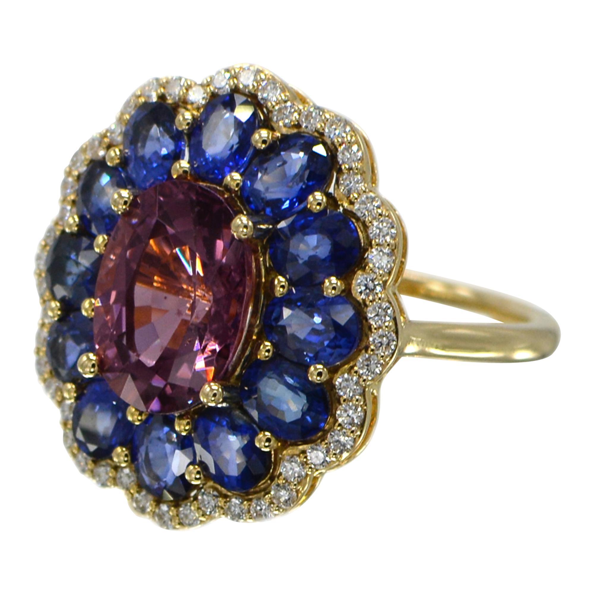 Blue Sapphire and Spinel Ring 14 Karat Rose Gold Oval Shape Spinel 3.0 Carat