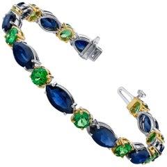 Blue Sapphire and Tsavorite Garnet Bracelet Set in 18 Karat Yellow & White Gold