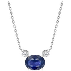 Blue Sapphire and Two Diamonds Drop Gold Pendant Necklace