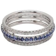 Blue Sapphire and White Diamond Band in 14 Karat White Gold