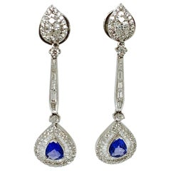 Blue Sapphire and White Diamond Chandelier Earrings in 18 Karat Gold