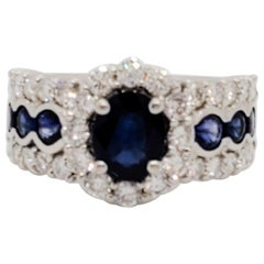Blue Sapphire and White Diamond Cocktail Ring in Platinum