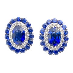 Blue Sapphire and White Diamond Oval Stud Earrings