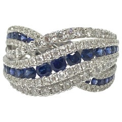 Blue Sapphire and White Diamond Ring in 18 Karat White Gold