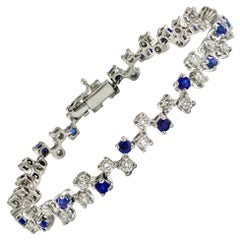 Blue Sapphire and White Diamond Tennis Bracelet Made to Measure in Italy