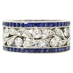 Blue Sapphire and White Diamond Wedding Band in Platinum