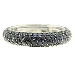 Blue Sapphire and White Gold Eternity Ring, Multi-Size