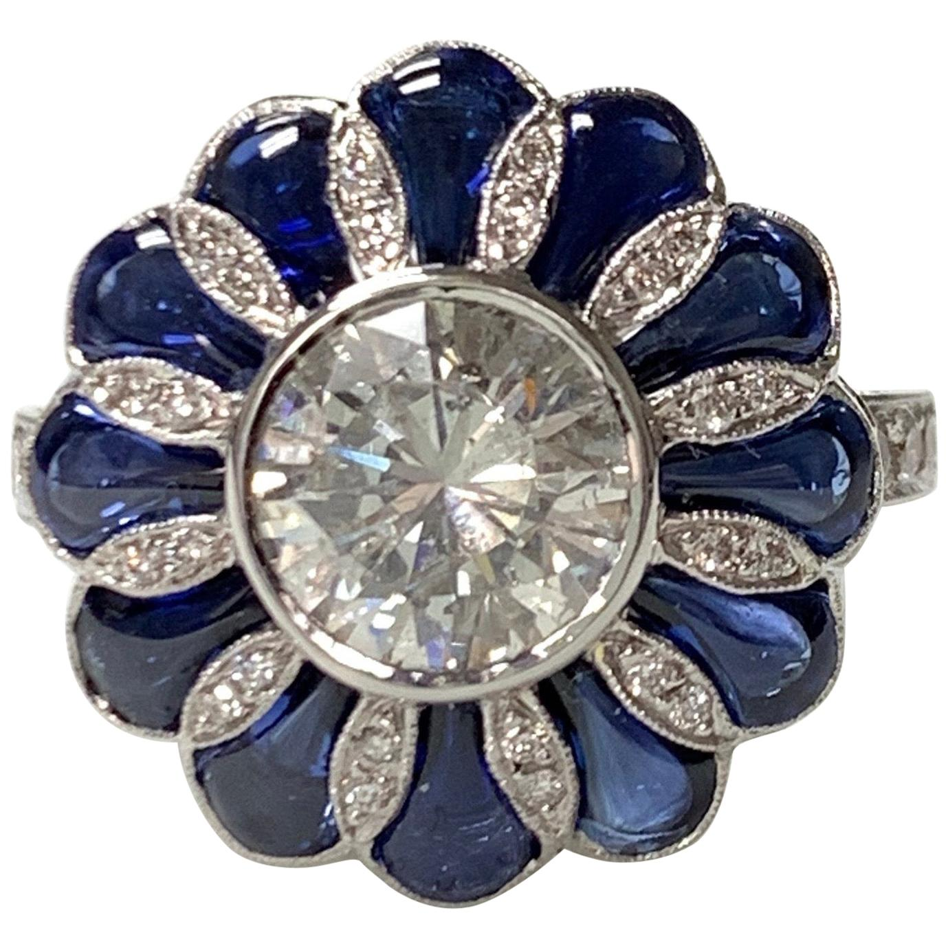 Blue Sapphire and White Old European Cut Diamond Ring in 18 Karat Gold