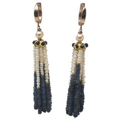 Marina J Blue Sapphire and Pearl Tassel Earrings with 14 K Yellow Gold