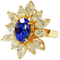 Blue Sapphire and Yellow Diamond Ring in 18 Karat Yellow Gold