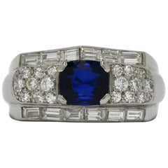 Blue Sapphire Antique Cushion Platinum Diamond Cluster Art Deco Engagement Ring