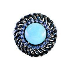 Blue Sapphire, Aquamarine and Diamond Ring