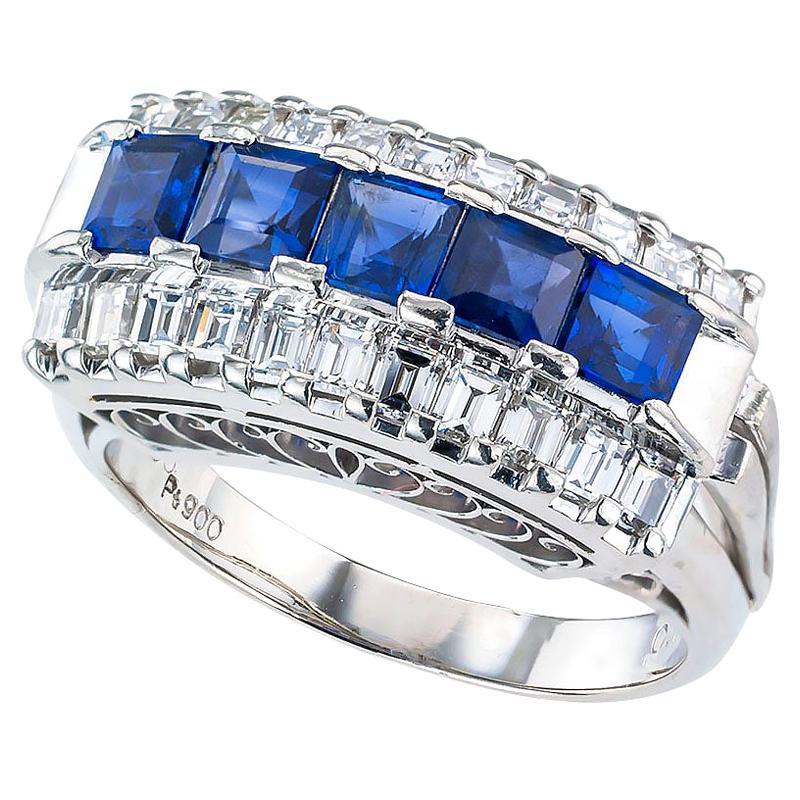 Blue Sapphire Baguette Diamond Platinum Ring Band