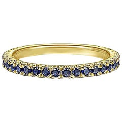 Blue Sapphire Band, 14 Karat Gold Genuine Blue Sapphire Stackable Ring 1/2 Carat