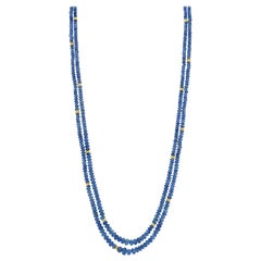 Blue Sapphire Bead, Double Strand Necklace, Yellow Gold Spacers and Clasp