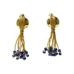 Blue Sapphire Bead Earrings in 18 K Yellow Gold