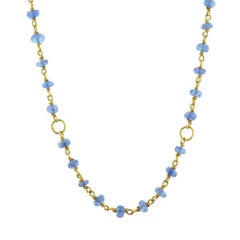 Blue Sapphire Bead Gold Necklace