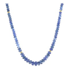 Blue Sapphire Bead Single Strand Necklace, Yellow Gold Spacers and Clasp