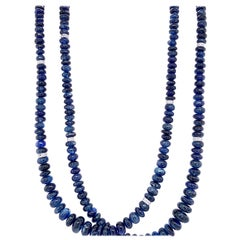 Blue Sapphire Beads and White Diamond 18 Karat Gold Necklace