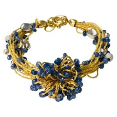 Blue Sapphire Beads, White Gold and Yellow Gold Bracelet
