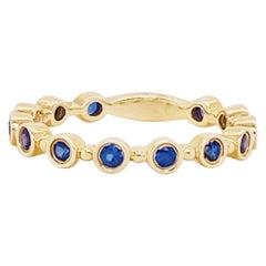 Blue Sapphire Bezel Band 14 Karat Gold Round Sapphire Stackable Birthstone