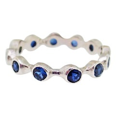 Blue Sapphire Bezel Band in 14K White Gold Handmade Bezel Ring with Sapphires