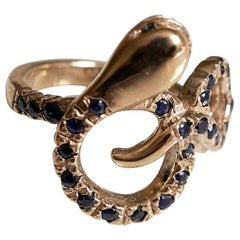 Blue Sapphire Black Diamond Snake Ring Bronze J Dauphin