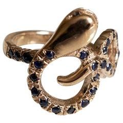 Sapphire Black Diamond Snake Ring Bronze J Dauphin