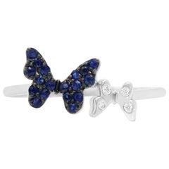 Blue Sapphire Black Rhodium 14 Karat White Gold Butterfly Ring