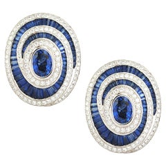 Blue Sapphire, Blue Sapphire with Diamond Earrings Set in 18 Karat White Gold