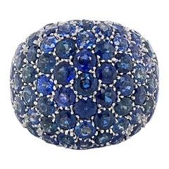 Blue Sapphire Bombe Dome Ring in 18 Karat Yellow Gold