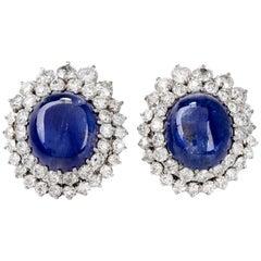 Blue Sapphire Cabochon Diamond 18 Karat Gold Cocktail Earrings
