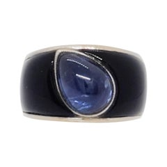 Blue Sapphire Cabochon Pear and Onyx Cocktail Ring in 18k White Gold