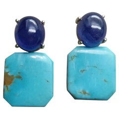 Blue Sapphire Cabochons Octagon Shape Turquoise 14 Kt Yellow Gold Stud Earrings