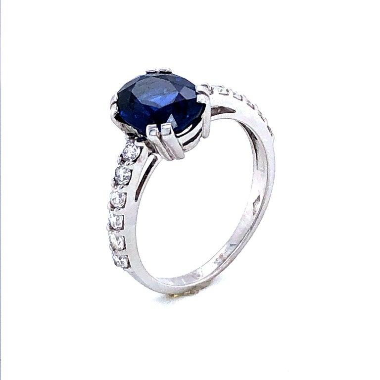 Women's Blue Sapphire Ceylan and Diamonds on White Gold 18 Karat For Sale