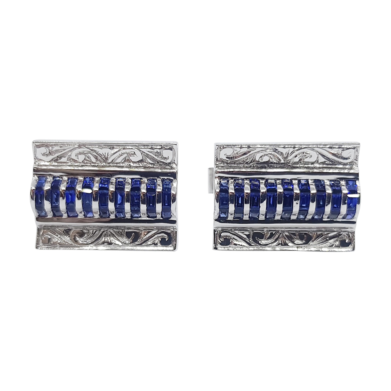 Blue Sapphire Cufflinks Set in 18 Karat White Gold Settings